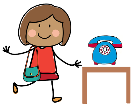 Drawing of a Mum and phone